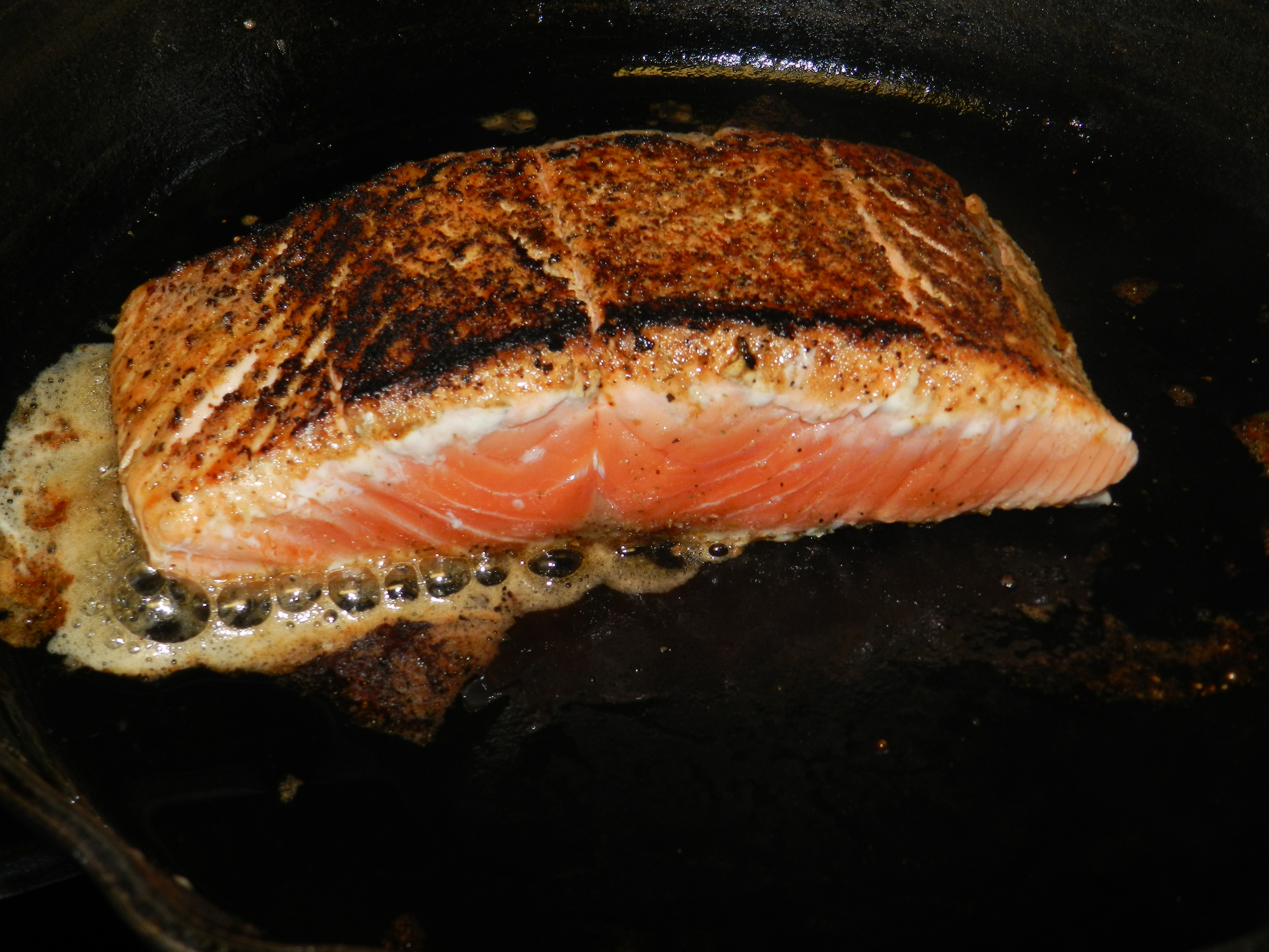 Remove Salmon From Pan And Add White Cooking Wine And Shallots Let  Shallots Simmer For A Few Minutes
